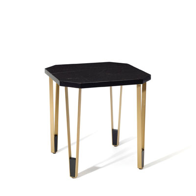 Ionic square side table InsidherLand nero marquina marble brass minimalist table decorative elegant sculptural modern contract luxury hotel furniture home decor living room