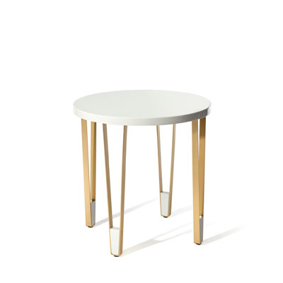 Ionic round side table InsidherLand white lacquered brass steel minimalist table decorative elegant sculptural modern contract luxury hotel furniture home decor living room