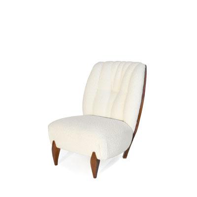 Na Pali armchair InsidherLand bouclé velvet walnut wood art deco lounge chair seating upholstery furniture home decor living room