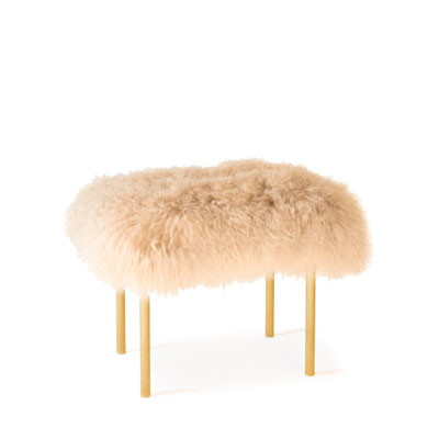 Tree Branches bench InsidherLand Mongolian lamb fur brass patina stool unique contemporary design best seller iconic seating upholstery