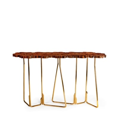 Four for Luck console InsidherLand wood rosewood ebony brass luxury console table decorative unique design exquisite sculptural contemporary modern award-winning furniture home decor living room hallway contract hotel