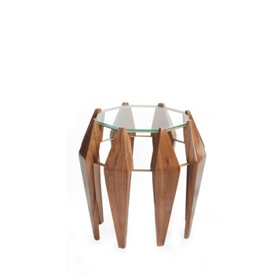 Na Pali medium side table InsidherLand round table walnut wood brass glass unique art deco modern seating upholstery organic nature shapes furniture home decor living room interior