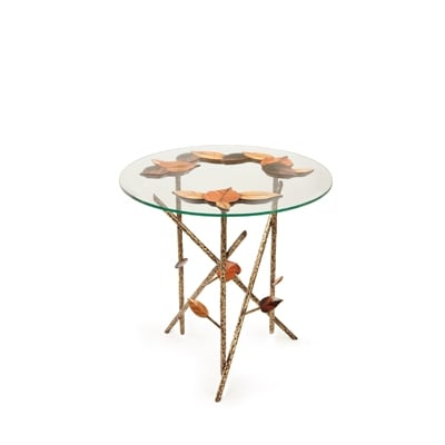 Tree Branches side table InsidherLand ebony rosewood olive wood brass patina round table elegant refined artistic nature handcrafted high end monolithic sculptural living room