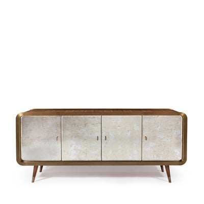 Unveil sideboard InsidherLand American walnut sicamore bronze brass frame antique mirror casegoods storage mid-century designer modern modernist luxury unique furniture home decor dining room casegoods storage