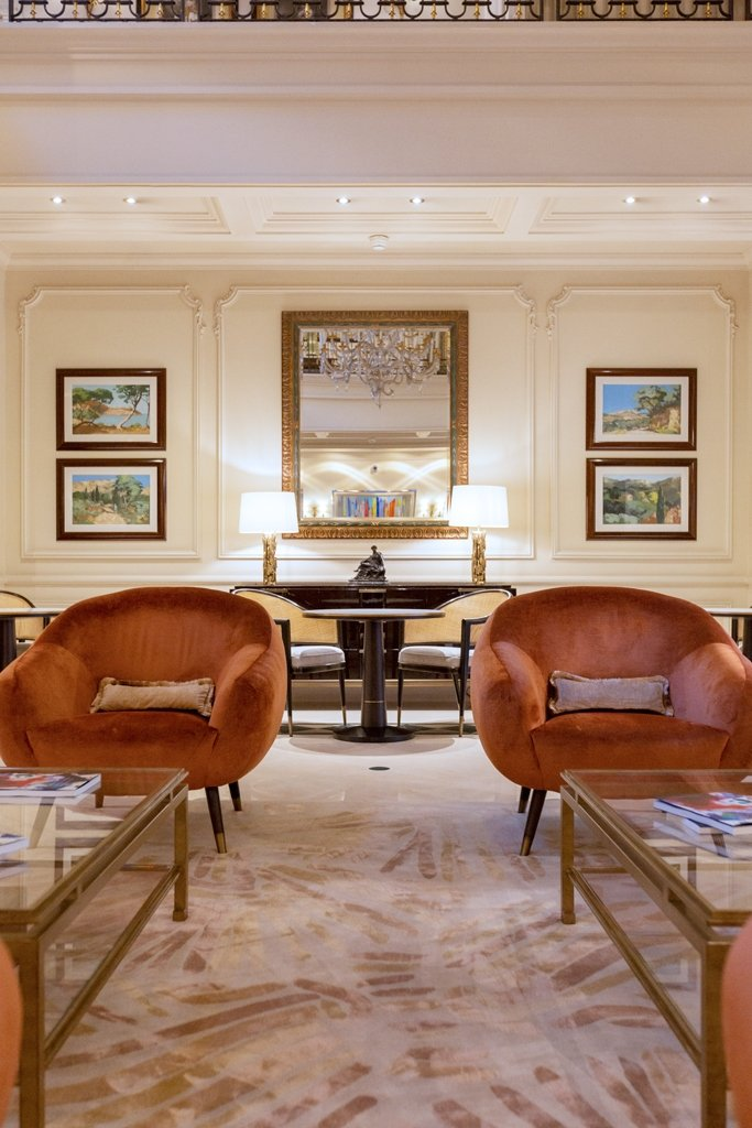 INSIDHERLAND Ambiences interiors furniture lighting hermitage hotel monte carlo niemeyer armchairs