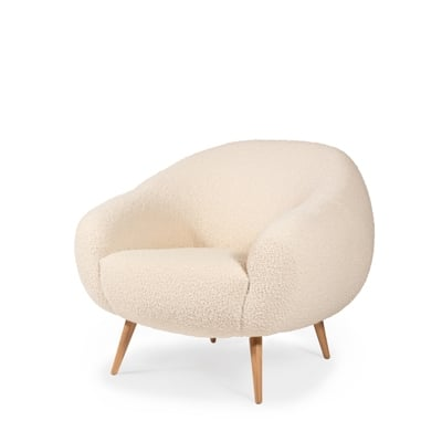 Niemeyer armchair InsidherLand bouclé oak round lounge chair modern modernist contemporary unique luxury best seller iconic seating upholstery