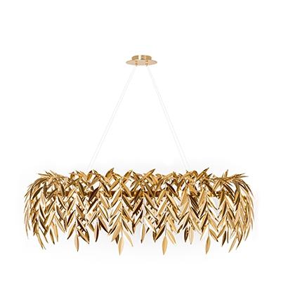 Azores chandelier InsidherLand brass gold oval pendant ceeling lighting contemporary luxury unique piece of art nature sculpture statement piece art decorative home decor residencial hotels reataurants