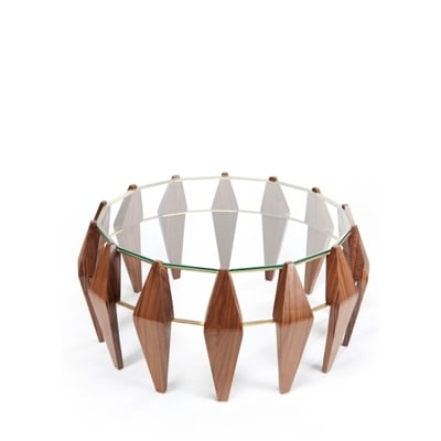 Na Pali center table InsidherLand round coffee table walnut wood brass glass unique art deco modern seating upholstery organic nature shapes furniture home decor living room interior