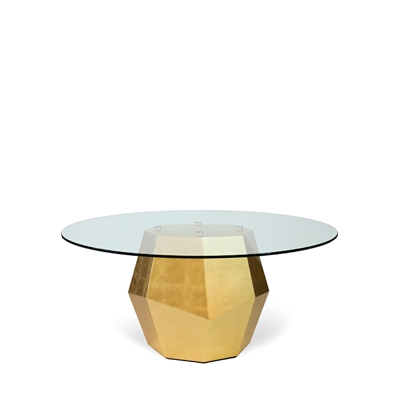 Rock dining table InsidherLand gold leaf walnut unique modern contemporary sculptural geometric materiality design