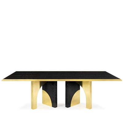 Utopia dining table InsidherLand black oak brass luxury statement piece furniture home decor living room