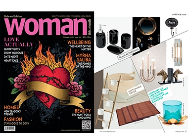 INSIDHERLAND collection luxury furniture design decor interiors press clipping magazines woman this month bahrain rock stool looshaus wall lamp