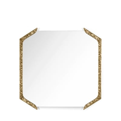 Alentejo square mirror InsidherLand cast brass patina nature inspiration modern wall art gallery sculpture best seller luxury design accessories home decor