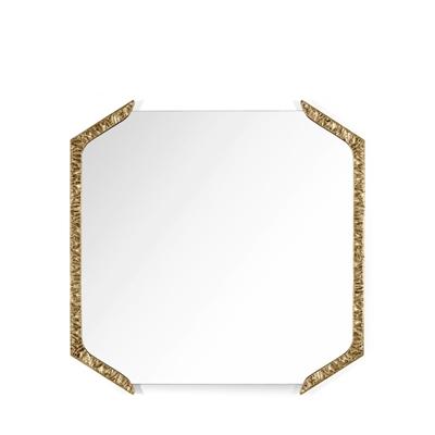 Alentejo square mirror InsidherLand cast brass patina nature inspiration modern wall art gallery sculpture best seller luxury design accessories home decor