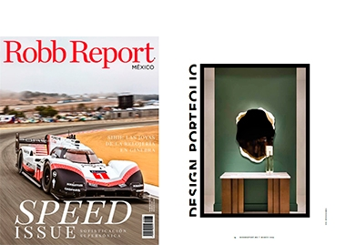 INSIDHERLAND collection luxury furniture design decor interiors press clipping magazines robb report mexico arizona mirror
