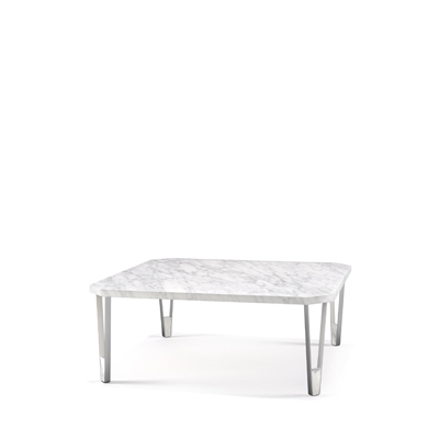 Ionic square coffee table InsidherLand center table carrara marble stainless steel minimalist elegant sculptural modern contract luxury hotel furniture home decor living room