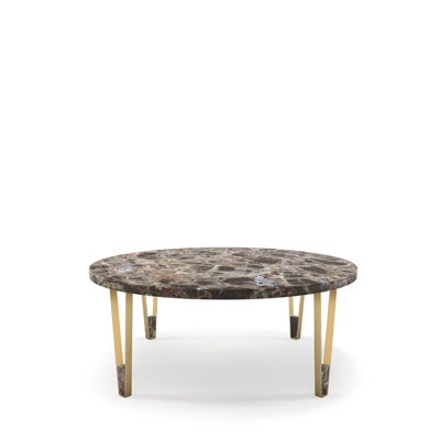 Ionic round coffee table InsidherLand center table emperador marble brass minimalist elegant sculptural modern contract luxury hotel furniture home decor living room