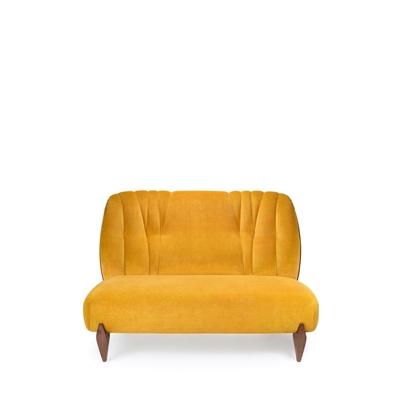 Na Pali 2 seat sofa InsidherLand velvet walnut wood art deco lounge sofa seating upholstery