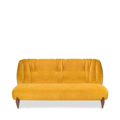 Na Pali 3 seat sofa InsidherLand velvet walnut wood art deco lounge sofa seating upholstery