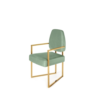 Perspective dining chair InsidherLand velvet brass modern contemporary unique design minimalist geometric forms architectural shape seating upholstery furniture home decor dining room