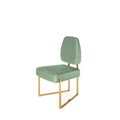 Perspective II dining chair InsidherLand velvet brass modern contemporary unique design minimalist geometric forms architectural shape seating upholstery furniture home decor dining room