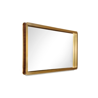 Unveil mirror InsidherLand American walnut brass frame mirror casegoods storage mid-century designer modern modernist luxury unique furniture home decor dining room bedroom living interior accessories wall art