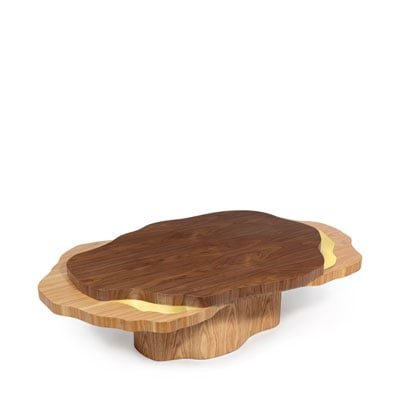 Arizona center table InsidherLand walnut oak brass coffee table contemporary modern unique organic forms