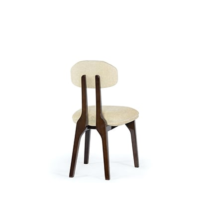 Silhouette dining chair InsidherLand dark brown wood modern contemporary design curves unique seating upholstery feminine sensual profile organic restaurant hotel bar contract hospitality furniture home decor dining room