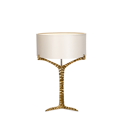 Alentejo table lamp InsidherLand cast brass patina lighting modern sculptural organic forms nature inspired exclusive residential interiors elegant living room bedroom