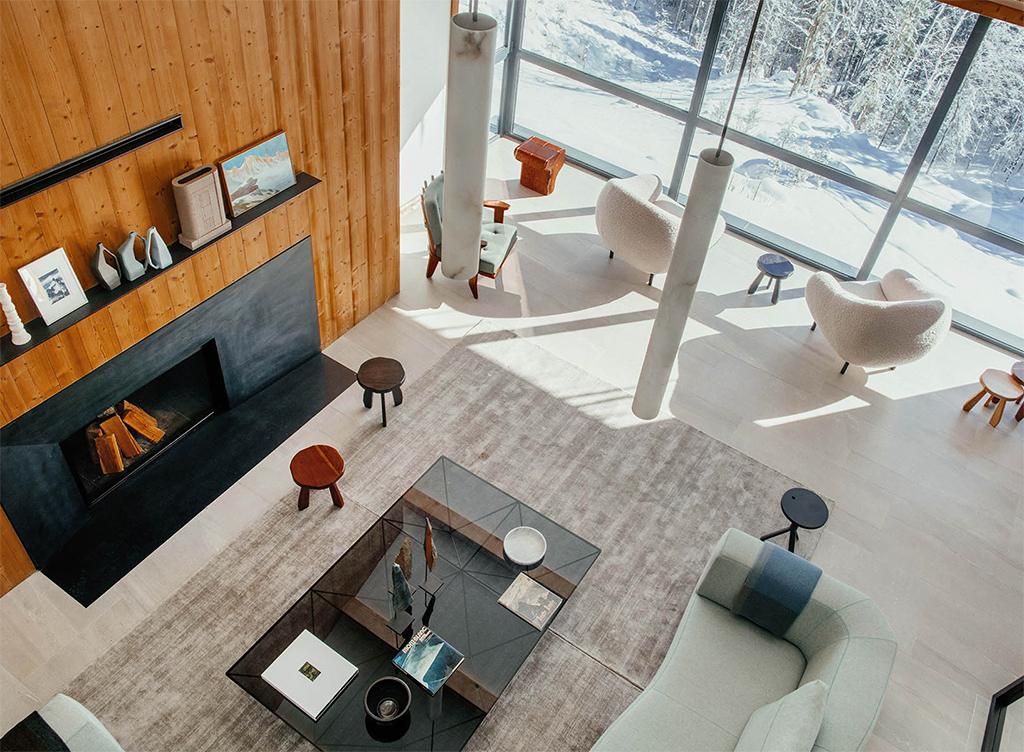 INSIDHERLAND Ambiences interiors furniture InsidherLand | Custom Niemeyer armchairs Project: Le Chalet Mont Blanc Location: France
