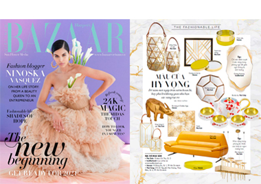 Harper´s Bazaar Vietnam Arizona Mirror seating lighting boucle chair stool InsidherLand collection luxury furniture exclusive design decor decoration interiors press clipping magazines joana santos barbosa portuguese residential hospitality contract hotel yacht commercial high end award winnig exclusive new designs ottoman office desk work books