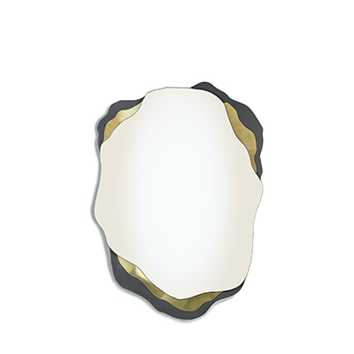 Arizona mirror InsidherLand anthracite lacquered bronze mirror brass artistic curvy oval unique sculpture wave best seller iconic design accessories home decor wall art elle decor ad architectural digest award-winning