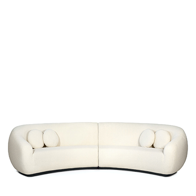 Niemeyer II round sofa InsidherLand bouclé oak lounge sofa modern modernist contemporary unique luxury iconic seating upholstery Oscar interiors chalet hotel contract sculptural